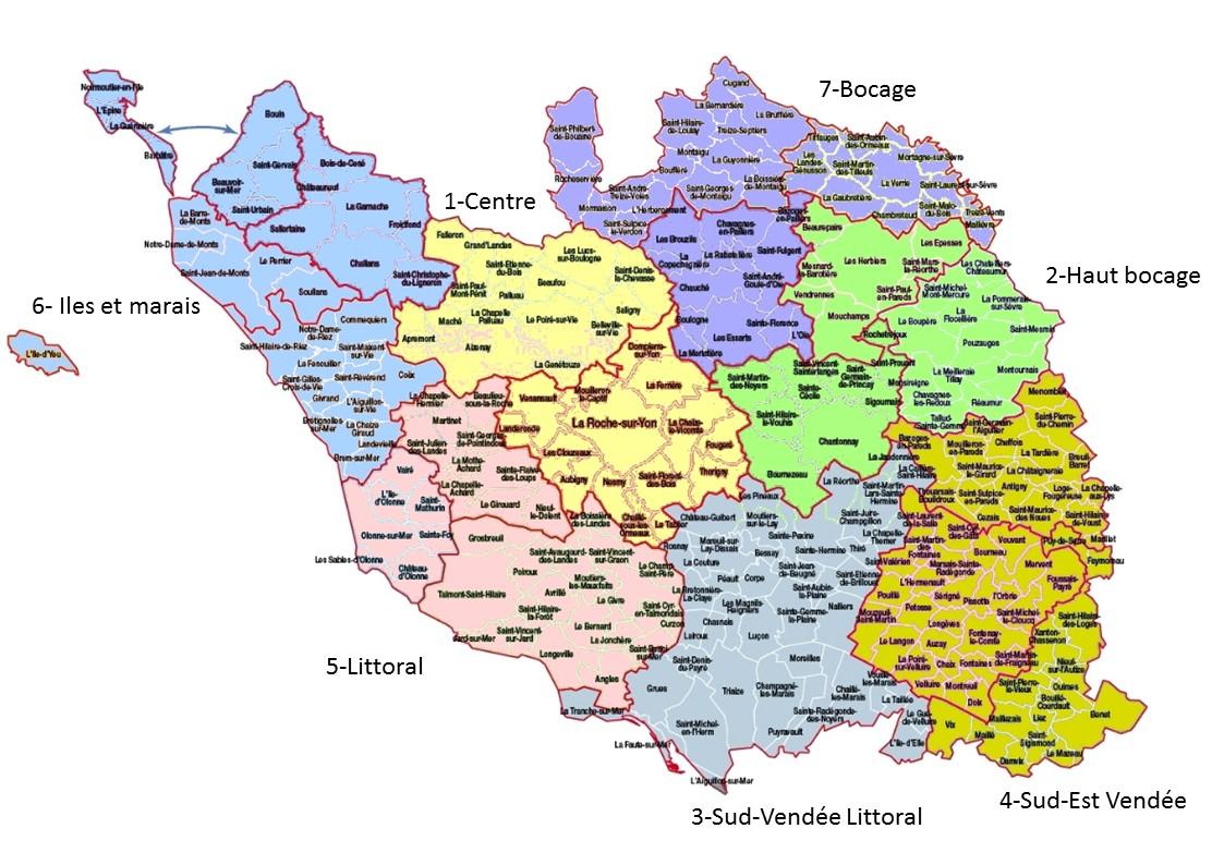 carte de la vendée avec toutes les communes Téléthon 85   Coordination   La carte des secteurs
